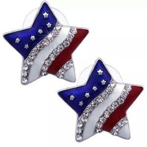 SWAROVSKI CRYSTAL FLAG STAR STUD EARRINGS